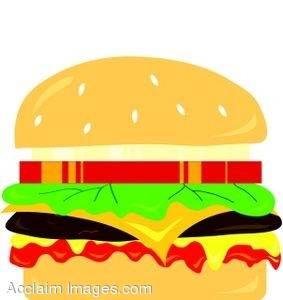 283x300 Clipart Illustration Of A Cheeseburger With All The Trimmings