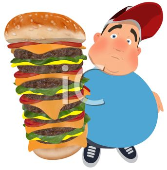 343x350 Clipart Illustration Of An Overweight Man Holding A Huge Cheeseburger