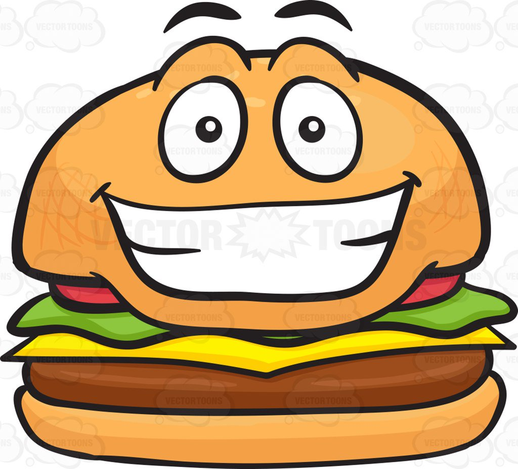 1024x929 Grinning Cheeseburger Showing Pearly Whites Cartoon Clipart