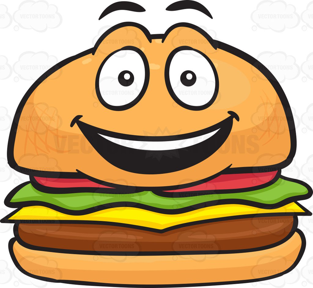 1024x942 Happy Cheeseburger With Delighted Look On Face Cartoon Clipart