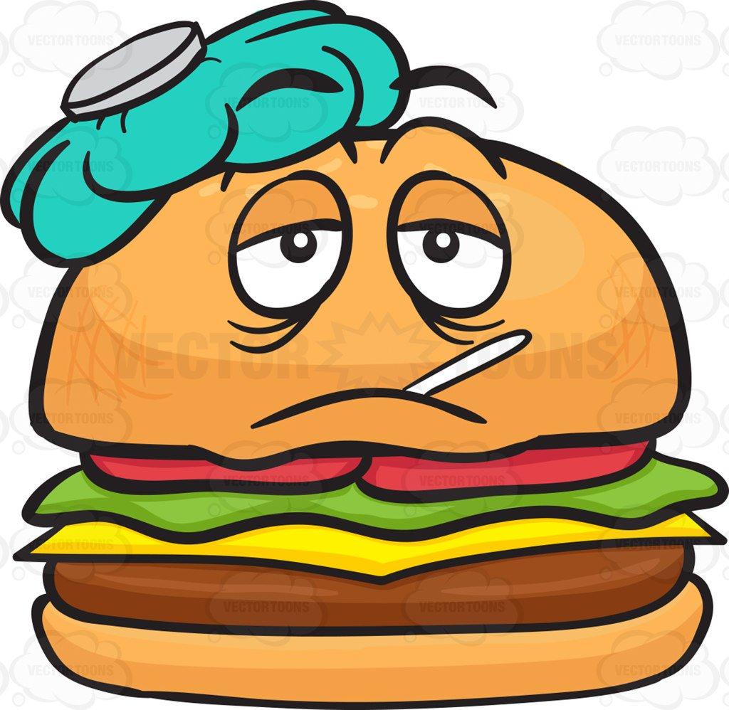 1024x998 Sick Cheeseburger With Ice Bag And Thermometer Cartoon Clipart