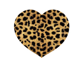 340x270 Cheetah Print Heart Clip Art