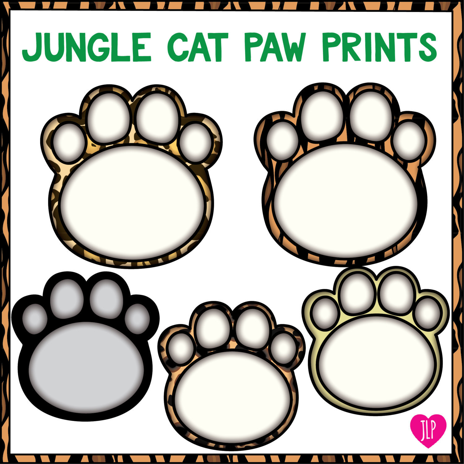 1500x1500 Jungle Paw Prints Clip Art, Tigerpantherlionjaguarcheetah Paw