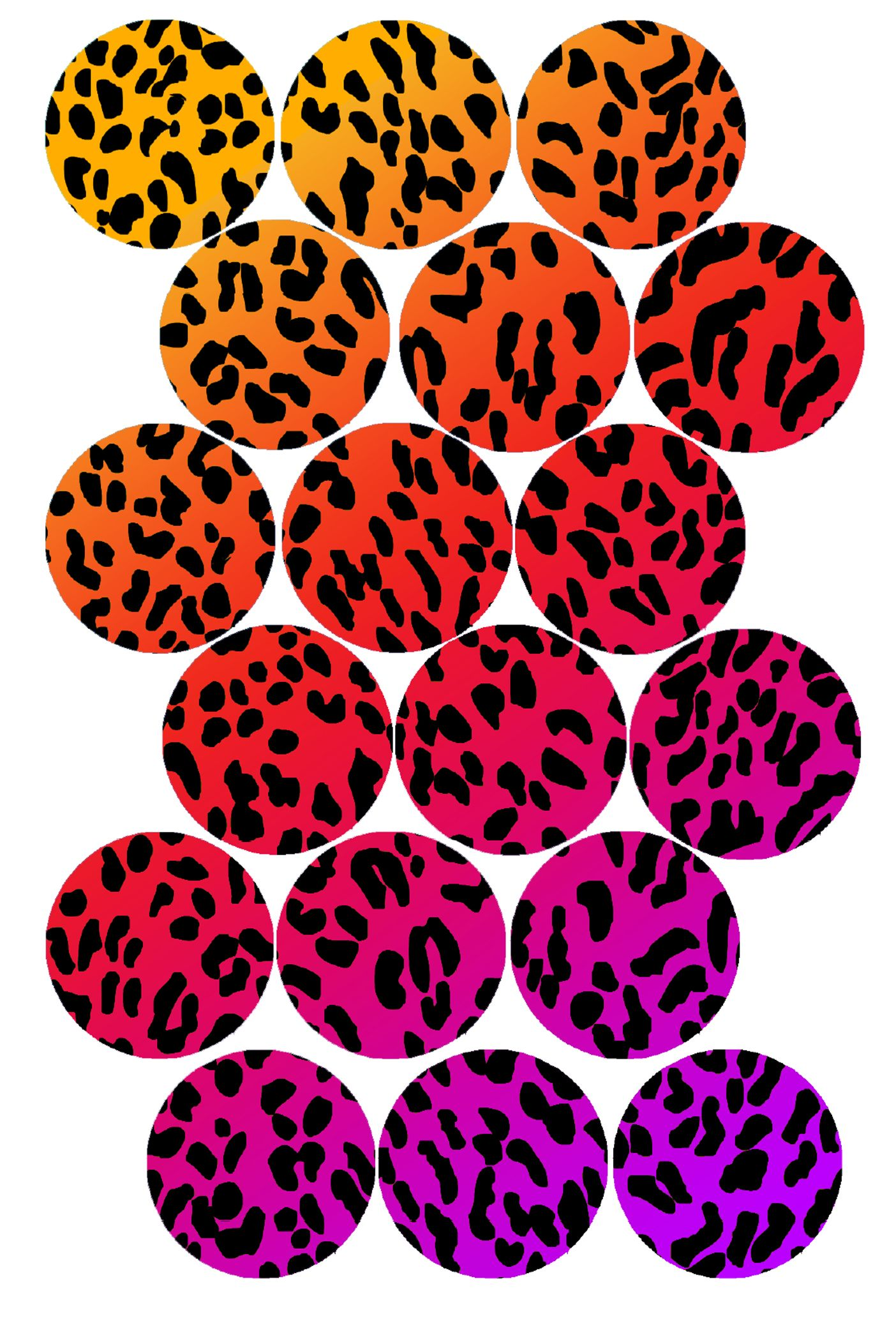 1404x2105 Rainbow Cheetah Print Bottle Cap Image Pack Formatted For Printing