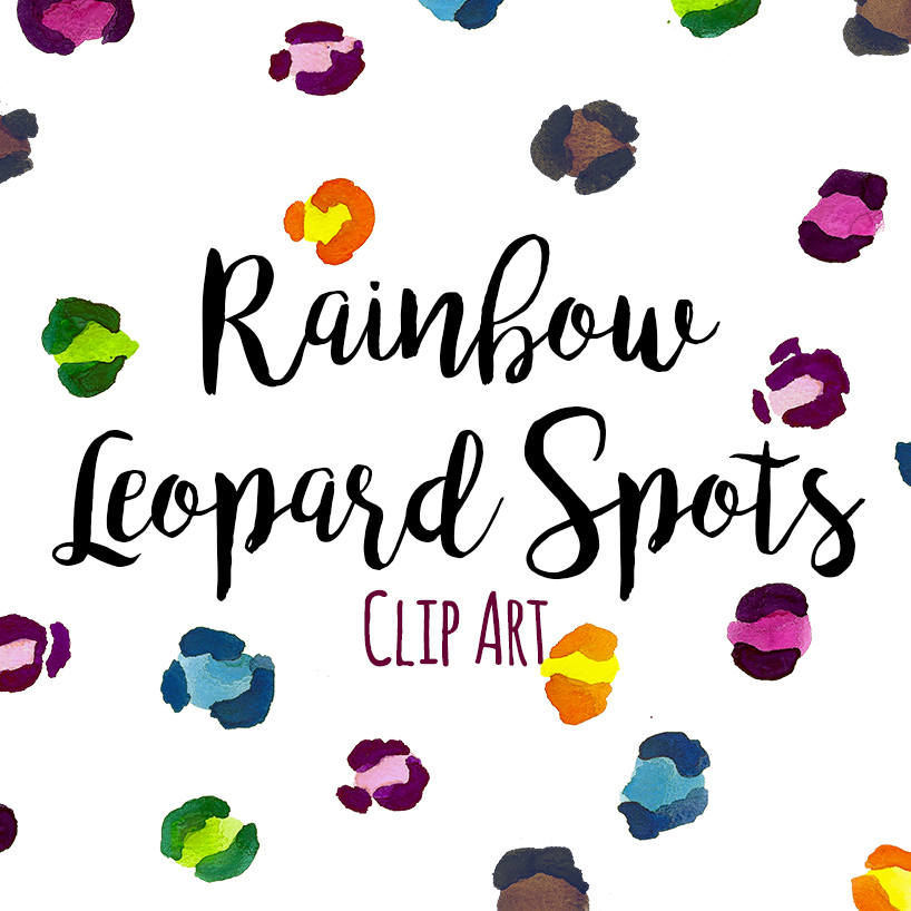 818x818 Animal Print Clip Art, Leopard Cheetah Print Clip Art, Rainbow