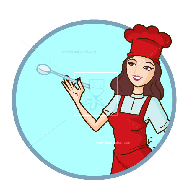 650x650 Woman Chef Illustration Logo Style Free Vectors, Illustrations