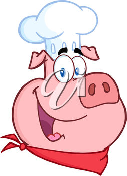 253x350 Cartoon Clip Art Image Of A Pig Wearing A Chef's Hat