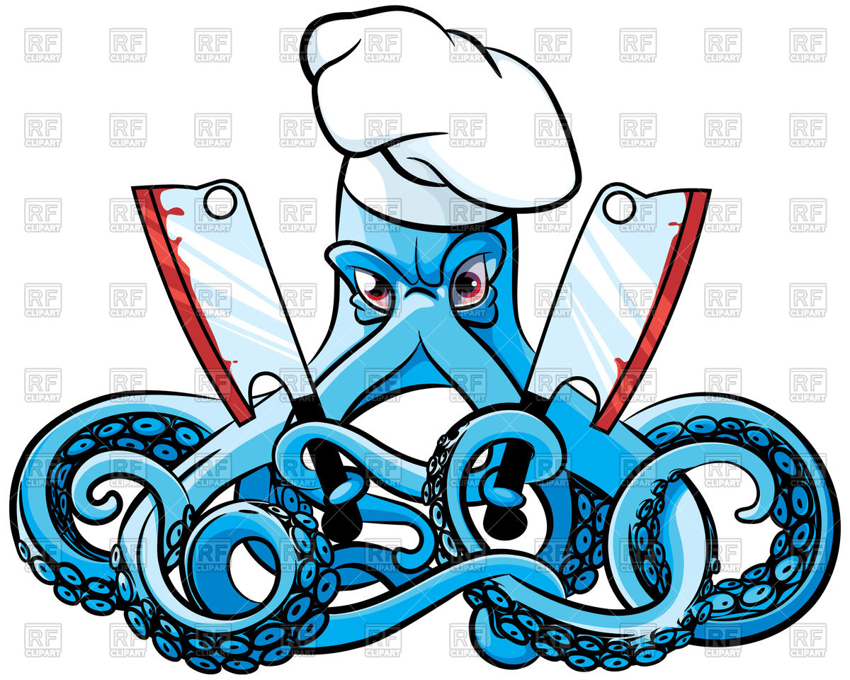 1200x960 Cartoon Octopus In Chef's Hat With Two Cleavers Royalty Free