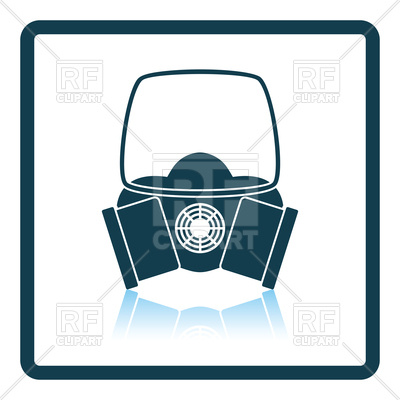 400x400 Shadow Reflection Design Of Chemistry Gas Mask Royalty Free Vector