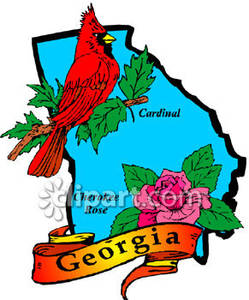249x300 Teal State Of Georgia With State Symbols Of Red Cardinal
