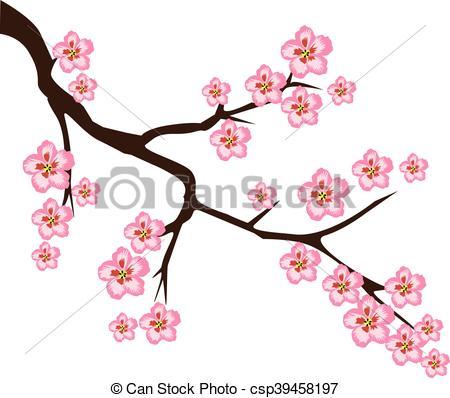 450x398 Cherry Flower. Vector Cherry Blossom Branch Eps Vectors