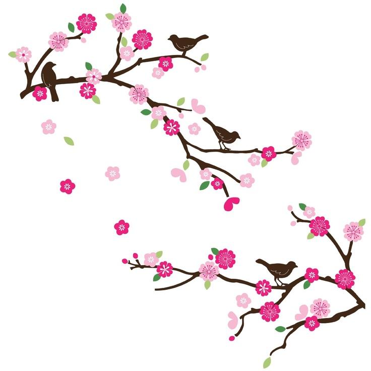736x736 Drawn Cherry Blossom Bird