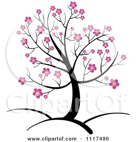 450x470 Vector Clipart Of A Spring Tree With Pink Cherry Blossoms