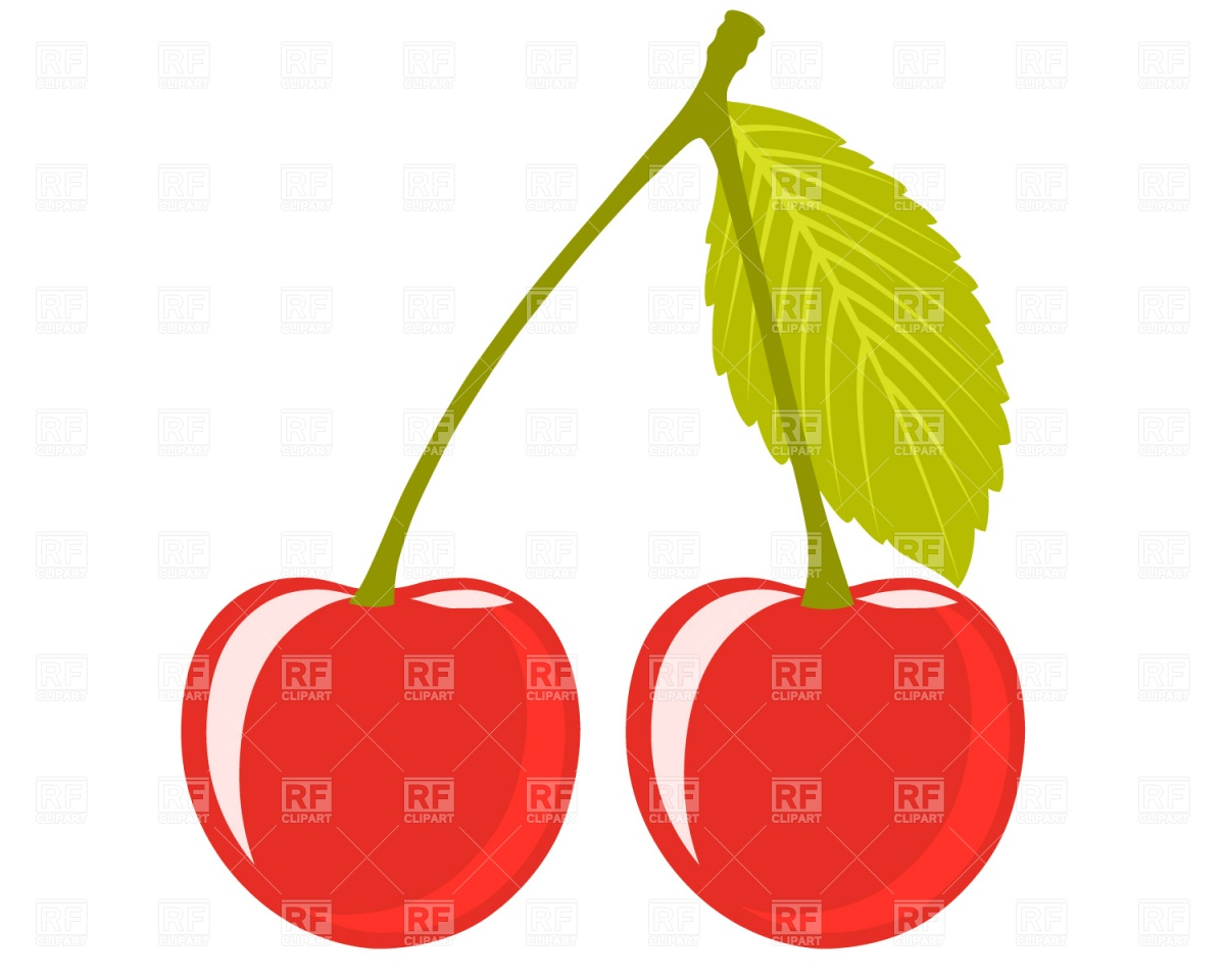 1200x960 Cherry Pair With Leaf Royalty Free Vector Clip Art Image