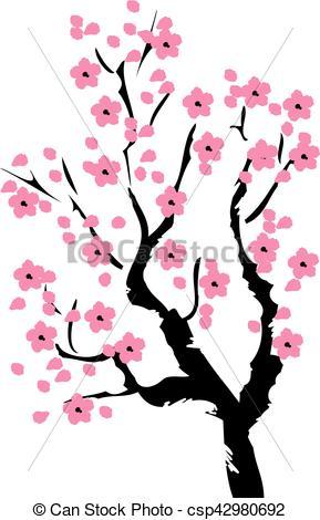 289x470 Cherry Tree. Vector Cherry Blossom Tree Eps Vectors
