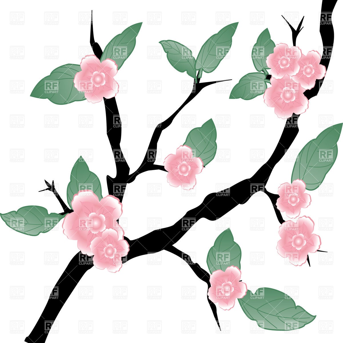 1200x1200 Flowers On A Branch Royalty Free Vector Clip Art Image