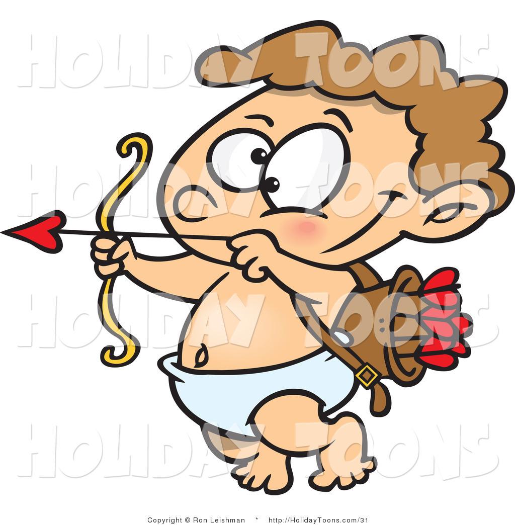 1024x1044 Royalty Free Holiday Cartoon Of A Little Cherub Cupid Practicing