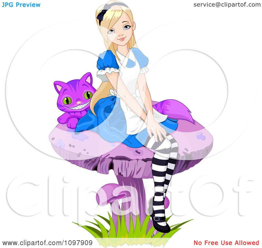 1080x1024 Clipart Alice Seated On A Purple Mushroom With The Cheshire Cat