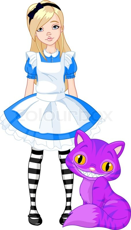 455x800 Alice In Wonderland And Cheshire Cat Stock Vector Colourbox