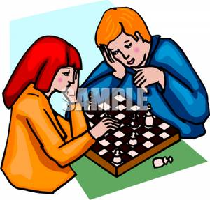 300x287 A Boy And Girl Playing Chess Clip Art Image