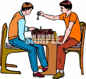300x274 Royalty Free Clipart Image Two Boys Playing Chess