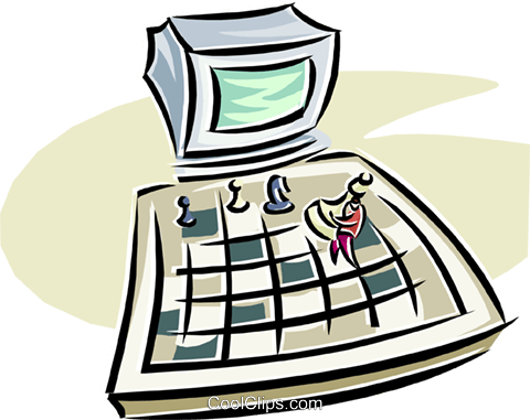480x381 Computer Chess Royalty Free Vector Clip Art Illustration Vc000266