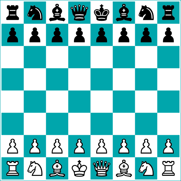 600x600 Chess Board And Pieces Clip Art