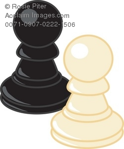 250x300 Clip Art Illustration Of Black And White Pawn Chess Pieces