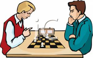 300x188 Clip Art Image Two Teenagers Playing A Timed Game Of Chess