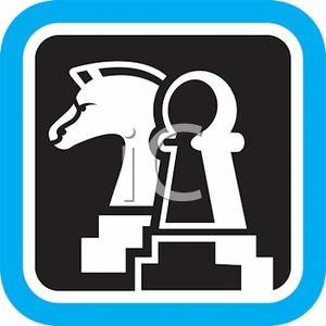 300x300 Clipart Picture Black And White Chess Pieces With A Blue Boarder