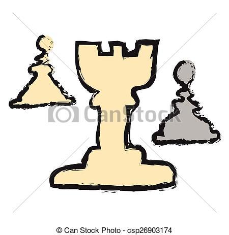 450x463 Doodle Rook Icon, Chess Piece, Vector Illustration Vectors