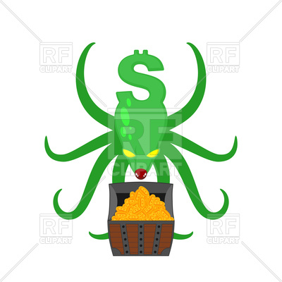400x400 Dollar Monster With Treasure Chest Royalty Free Vector Clip Art