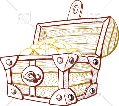 400x355 Old Wooden Pirate Treasure Chest With The Lid Open Royalty Free