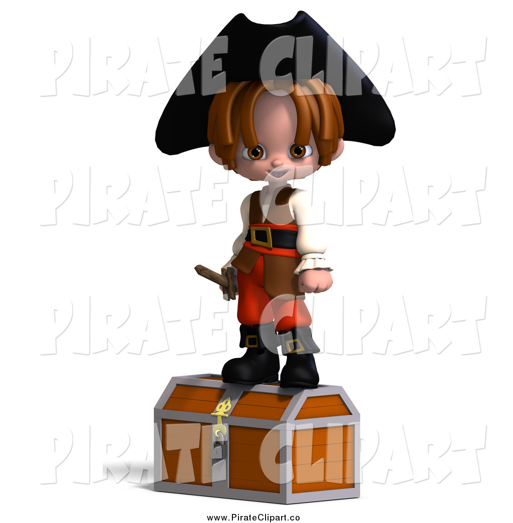 1024x1044 Vector Clip Art Of A 3d Pirate Boy Standing On A Chest By Ralf61