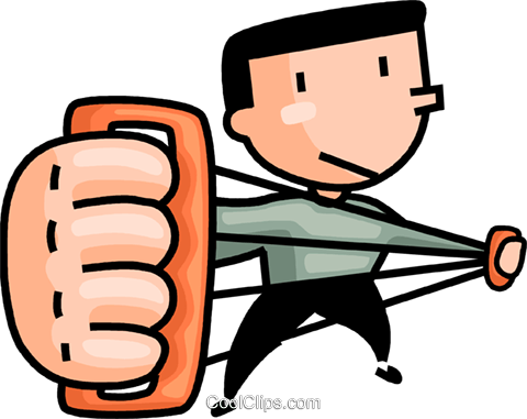 480x381 Man Working Out With A Chest Expander Royalty Free Vector Clip Art
