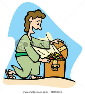 272x300 Clip Art Image A Man Kneeling And Finding A Treasure Chest