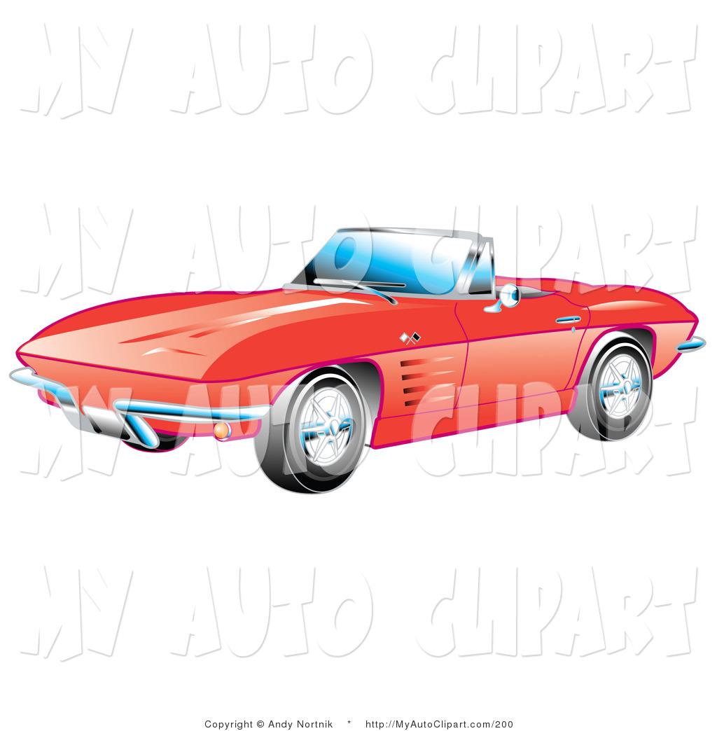 1024x1044 Clip Art Of A Shiny Red 1963 Convertible Chevrolet Corvette