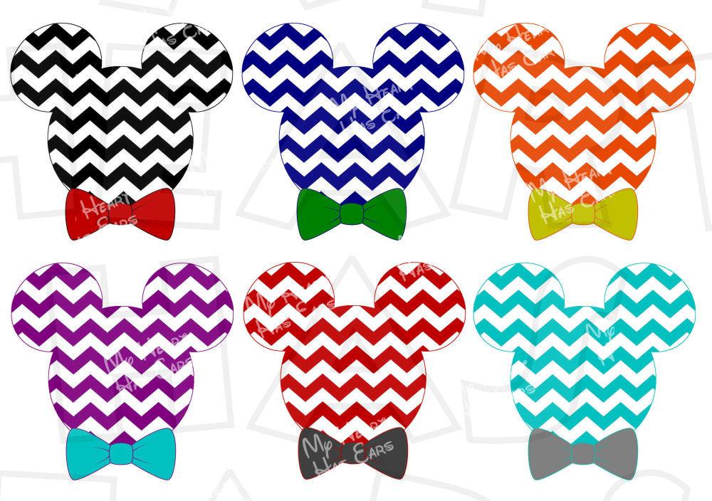 1000x704 Choose Your Color Mickey Mouse Head Ears Chevron Digital Clip Art