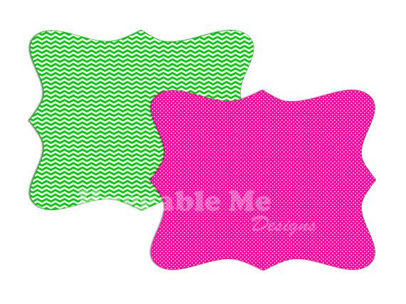 570x427 Digital Frame Clipart, Digital Tag Clip Art, Polka Dot Scallop