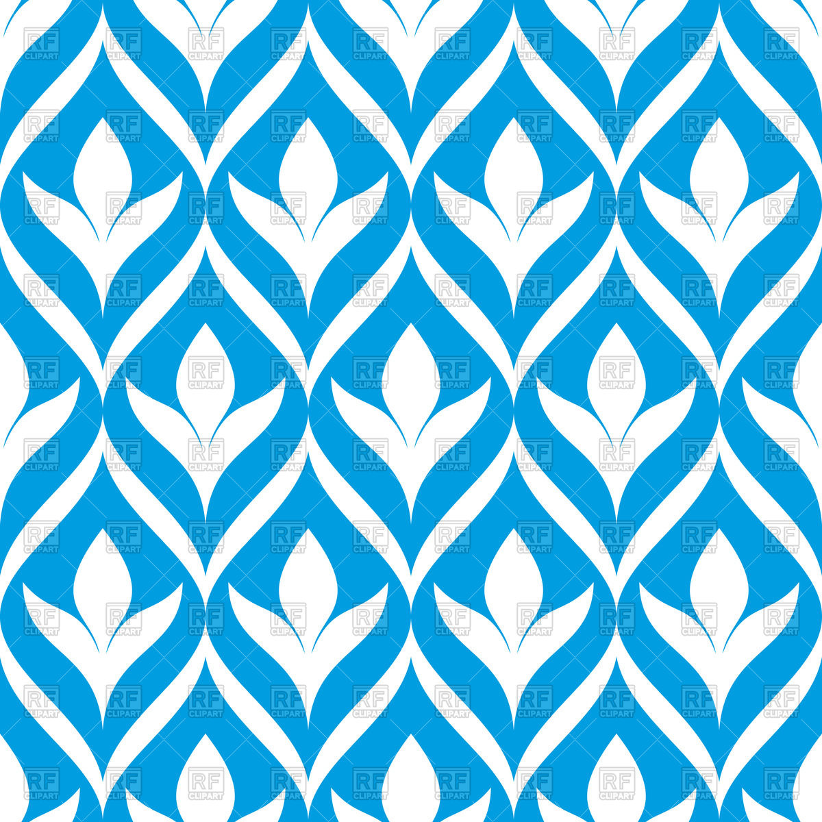 1200x1200 Abstract Blue And White Floral Seamless Wallpaper Royalty Free