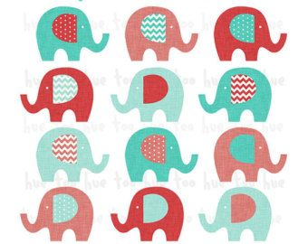 340x270 Instant Download Red Aqua Elephant Clip Art, Turquoise Blue