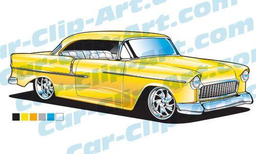500x300 1955 Chevy Vector Art Clip Art, Vector Art And Automotive Art