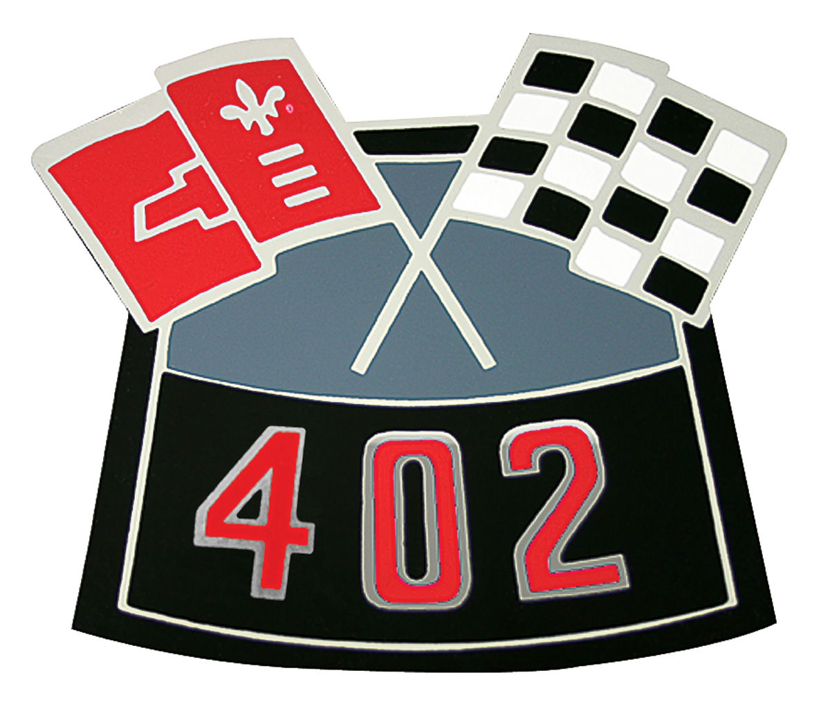 1200x1015 1970 77 Monte Carlo Air Cleaner Decal, Crossed Flags 402 @