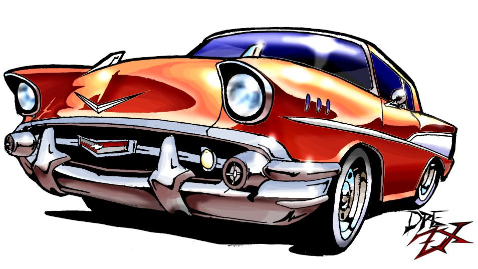 954x537 57 Chevy Car Clipart