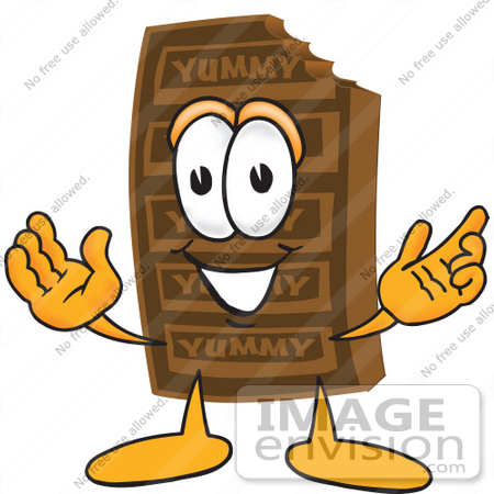 450x450 Clip Art Graphic Of A Chocolate Candy Bar Mascot Character