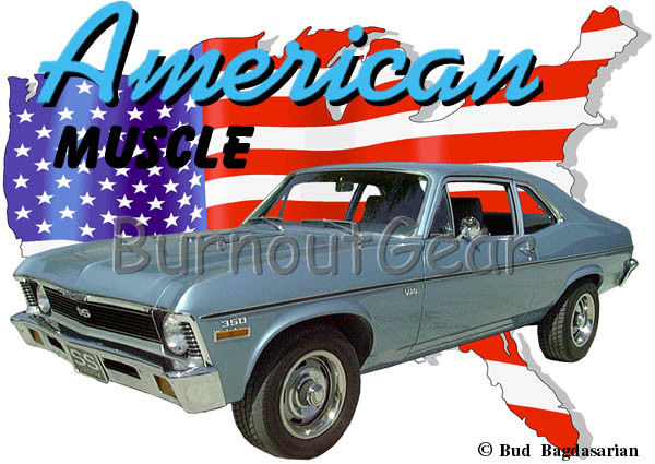 600x425 1970 Blue Chevy Nova Ss A Custom Hot Rod Usa T Shirt 70 Muscle Car