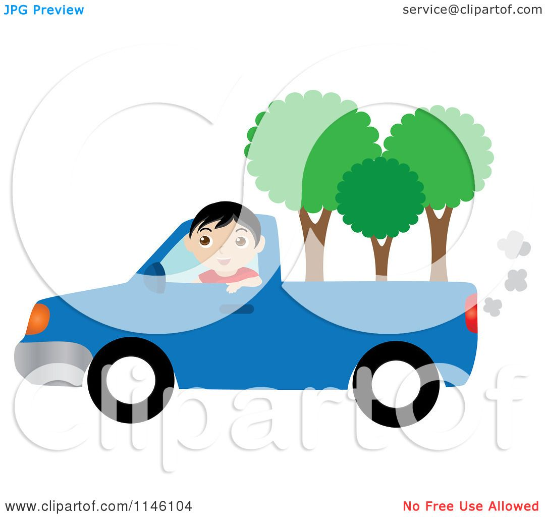 1080x1024 Clipart Of A Boy Driving A Blue Pickup Truck With Trees In The Bed
