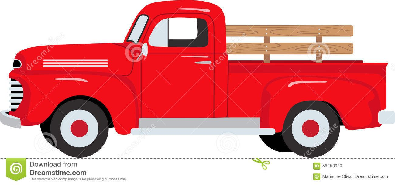 1300x609 Farmer Red Pickup Truck Stock Vector