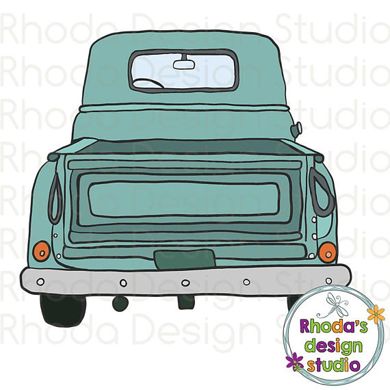 570x570 Retro Vintage Pickup Truck Rear End Aqua, Blue, And Red Stamp