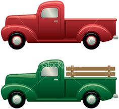 236x216 Two Cartoon Vintage Pick Up Truck Outline Drawings, One Red